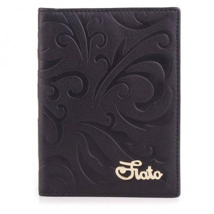 Обложка для паспорта fiato из натуральной кожи, черная, 019(F45B)