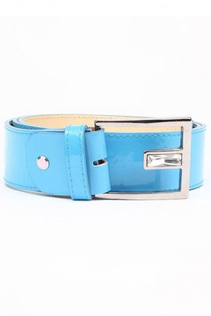Ремень женский Marina Creazioni F1764-40 azzurro laccato, голубой